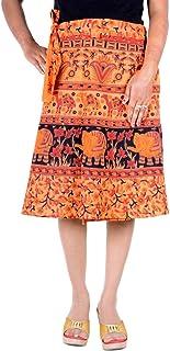 Indian Gypsy Hippy Short Knee Length Rapron Cotton Wraparound Skirt Women Dress Orange