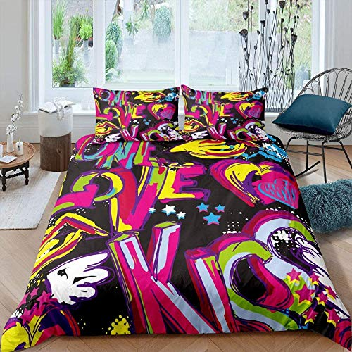 Evvaceo 3D Printed Bedding Set For Children Teens Colorful Graffiti Watercolor Street Culture Pattern 220 Cm X 230 Cm Duvet Cover Set With 2 Pillowcases Microfiber Quilt Cover With Zipper(king)