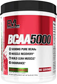 Evlution Nutrition BCAA5000 Powder 5 Grams of Branched Chain Amino Acids (BCAAs) Essential for Performance, Recovery, Endurance, Muscle Building, Keto Friendly, No Sugar (90 Servings, Cherry Limeade)