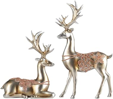 Forart 2Pcs Christmas Reindeer Resin Sculpture Individuality Deer Figurine Statue Home Office Tabletop Ornament Elegant Supplies