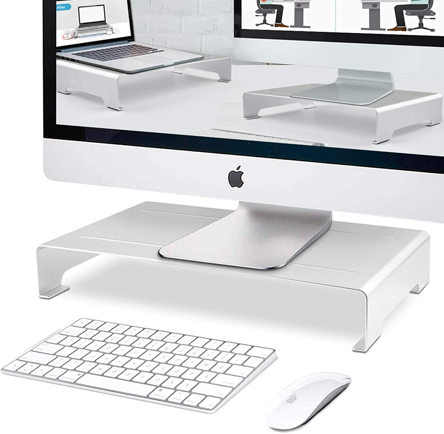Monitor Stand Riser, RAINBEAN Custom Size Monitor Riser/Computer Stand for Home Office Business w/Sturdy Platform, PC Desk Stand for Keyboard Storage & Multi-Media Laptop Printer TV Screen