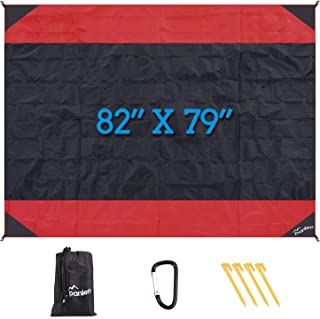panlen Large Beach Blanket,Sand Free Beach Mat,Soft Ripstop Nylon Camping Blankets,Outdoor Picnic Blanket with Stakes & Corner Pockets, 82