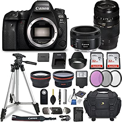 Canon EOS 6D Mark II DSLR Camera w/ 4 Lens Bundle Including 2.2X Telephoto & 0.43x Aux Wide Angle Lens + 2Pcs 32GB SD Memory + Accessories with Premium Commander Kit (29 Items) by Canon