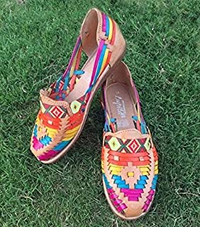Huarache Mexican Colorful Leather Closed Toe Sandals, Flat Shoes for Women