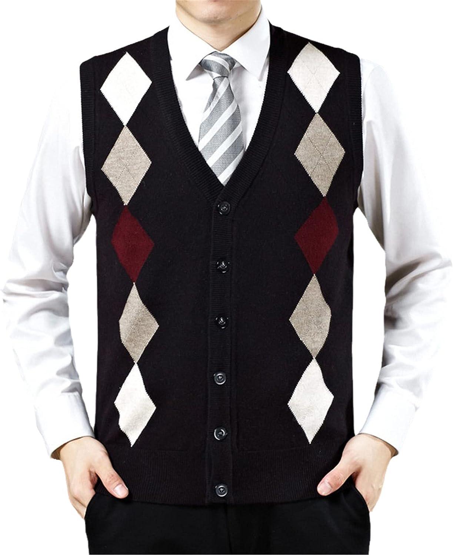 Men's Spring And Autumn Casual V- Neck Diamond Plaid Sleeveless Wool Vest Cardigan