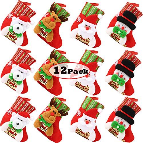FUNYU Mini Christmas Stockings, Xmas Stockings 3D Character Plush Santa, Snowman, Reindeer, Bear, Small Bulk Red Stocking 6' Christmas Tree Decorations - 12 Stockings
