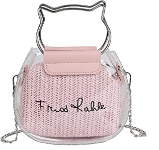 Wultia - Clear Transparent Shoulder Bags Women Feather Cat Women Jelly Bags Purse Solid Color Handbags sac a Main Femme Crossbody Bag #N Pink