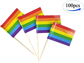 Rainbow Pride Gay Flags ,100 Pcs Cupcake Toppers Flag, Toothpick Flag,Small Mini Stick flags Picks Party Decoration Rainbow Festival Celebration Cocktail Food Bar Cake Flags,Gay Pride Rainbow Party