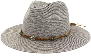 New Casual Sun Hats Unisex Summer Packable Straw Fedora Ladies Panama Hat Fashion Mens Female with Band Wide Brim Hats` TuanTuan (Color : Gray, Size : 56-58CM)