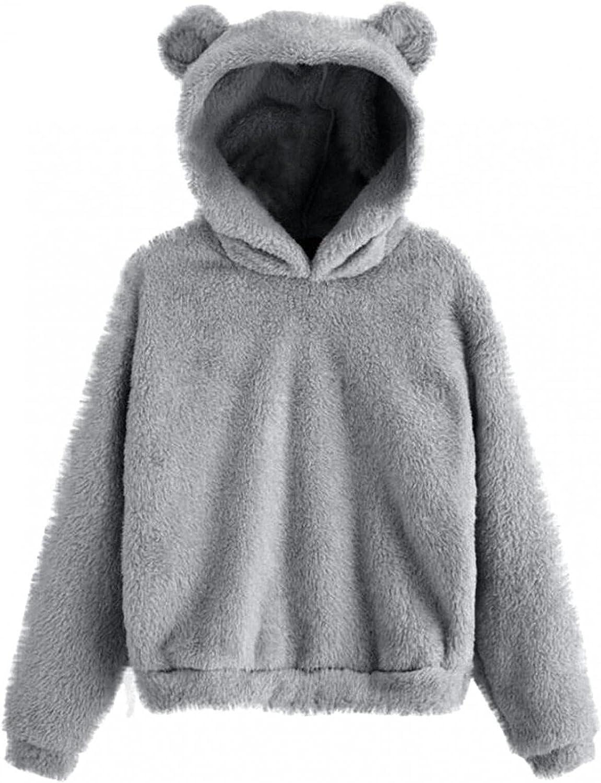 POTO Womens Fuzzy Fleece Sweatshirt Cute Teddy Bear Pullover Hoo