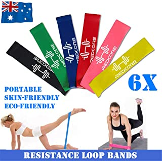Resistance Loop Bands Exercise Bands Set of 6 Natural Latex Fitness Bands for Workout and Physical Therapy E-Guide Pilates...