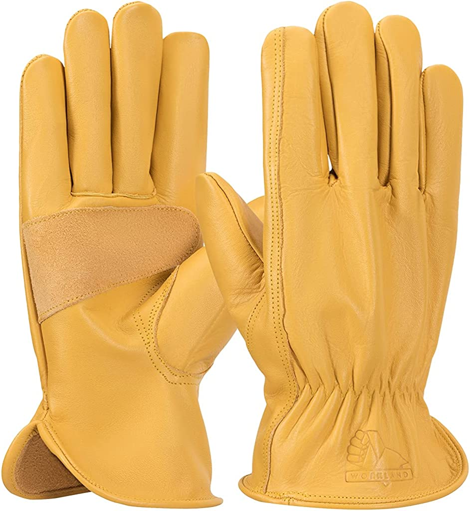 Mens reinforced leather work gloves with palm patch, Large