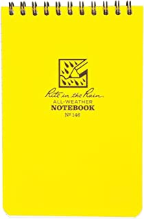 """Rite in the Rain Weatherproof Top Spiral Notebook, 4"""" x 6"""", Yellow Cover, Universal Pattern (No.146)"""