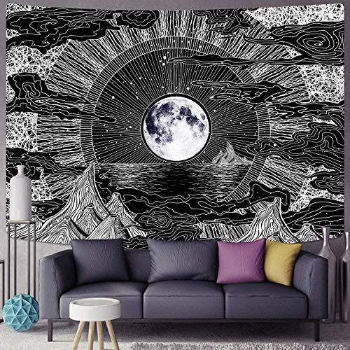 Tapiz de montaña tapiz de nubes tapiz negro hippie psicodélico luna y estrellas tapiz sala de estar decoración del dormitorio A39 150x200cm