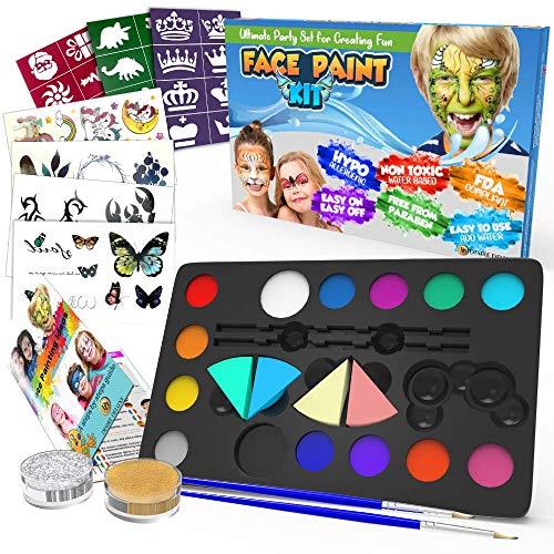 Desire Deluxe Kit Pinturas Cara y Cuerpo para Niños y Niñas con Paleta Amplia de Colores, Juego de Pinceles, Tatuajes Temporales, Esponjas Maquillaje, Purpurinas y Plantillas
