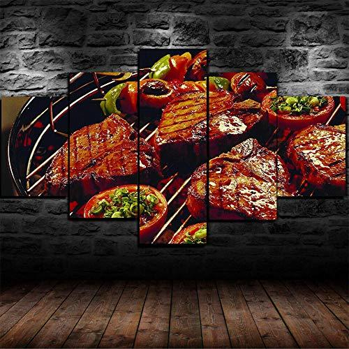 JUHAO Obra de Arte de múltiples Paneles, póster Modular decoración del hogar Moderno-Cartel de la Lona del Restaurante de Carne de Barbacoa-5 Piezas de Pintura en Lienzo, Decora tu hogar