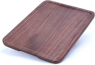 ALDDN Wood Serving Tray, Natural Handcrafted Black Walnut Rectangular Decorative Trays, Food Tray Serving Platters with Gr...