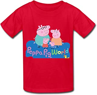 YH Peppa Pig Poster T Shirt For Big Boys' Girls' White