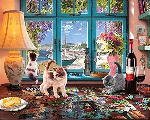 Schilderij met kwasten en acrylpigmenten om zelf te maken op canvas voor beginners 16 x 20 inch (zonder frame) Kat om te spelen op de vensterbank, tekening met borsteldecoratie