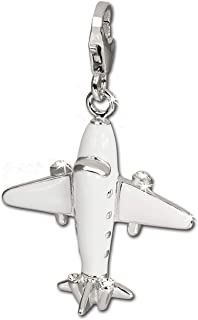 Pendentifs Charm en Argent Sterling 925 carte de voyages Dream et avion Charm perle Pour Charms Colliers Bracelets