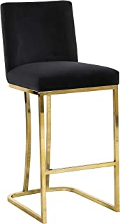 Meridian Furniture Heidi Collection Modern | Contemporary Black Velvet Upholstered Counter Stool with Polished Gold Metal Legs, 16