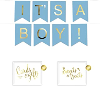Andaz Press Shiny Gold Foil Paper Pennant Hanging Baby Shower Banner with Gold Party Signs, It's a Boy! Baby Blue, Pre-Strung, No Assembly Required, 1-Set