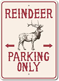 Reindeer Parking Sign, Reindeer Parking Parking Only, Reindeer Decor, Reindeer Sign, Reindeer Lover Gift, Holiday Decor, Holiday Sign, Deer Decor, Reindeer Parking Metal Tin Sign 30x40cm.