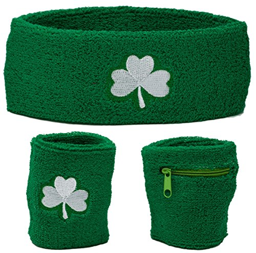 Funny Guy Mugs Clover Unisex Sweatband Set (3-Pack: 1 Regular Wristband + 1 Wristband with Zipper + 1 Headband)