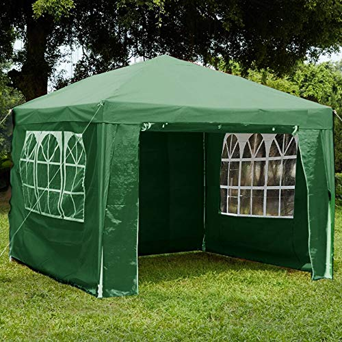 Loop 3x3m Garden Gazebo Marquee Tent with Side Panels, Fully Waterproof, Powder Coated Steel Frame for Outdoor Wedding Garden Party Green(3mx3m)