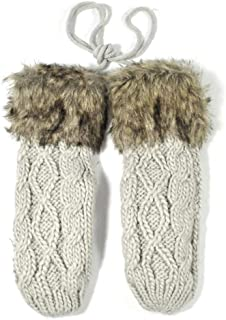 SGJFZD Winter Layer Thick Cashmere Women Warm Knit Twist Full Finger Gloves Thermal Gloves (Color : Beige, Size : OneSize)