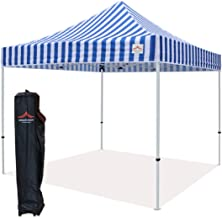 UNIQUECANOPY 10'x10' Ez Pop Up Canopy Tent Commercial Instant Shelter, with Heavy Duty Roller Bag, 10x10 FT Blue White Strip