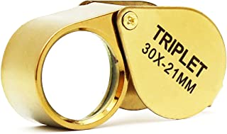Pocket Jeweler Loupe Magnifier, 30X Glass Lens Magnifying Glass for Jewelry, Coins, Stamps,Antiques and More (Golden)