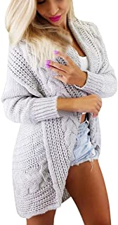 QIQIU Womens Sexy Knit Open Front Long Sleeve Sweater Cardigans Casual Solid Warm Loose Coat Tops Outwear