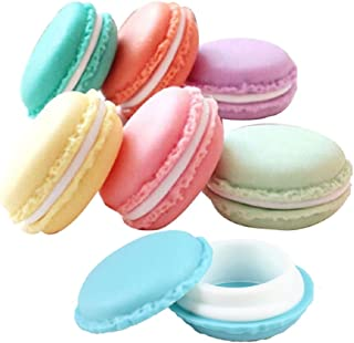 Pack of 6 Colorful Mini Macaron Shaped Empty Lip Balm, Gloss, Storage Box Pill Box Candy Jewelry Organizer Pill Case Containers, By Grand Parfums US Seller Ships from US