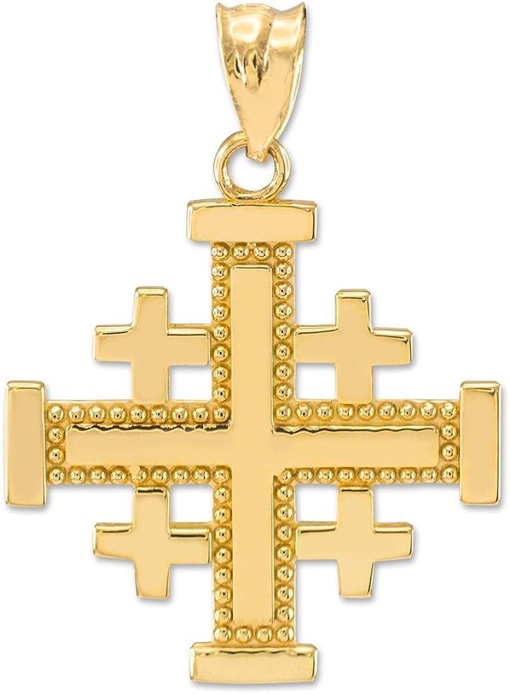 Masonic Jewelry (Freemason) 14k Yellow Gold Crusaders Jerusalem Cross Pendant