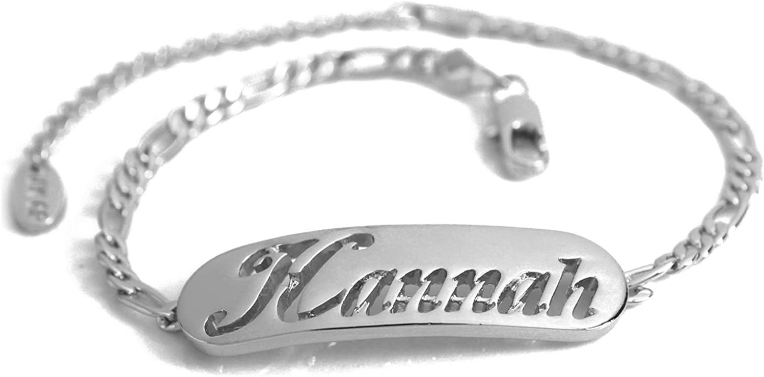 Personalised Name Bracelet HANNAH  Silver Plated 2mm Thick Nameplate & 10  Figaro Chain. Includes Free Gift Box and Gift Bag
