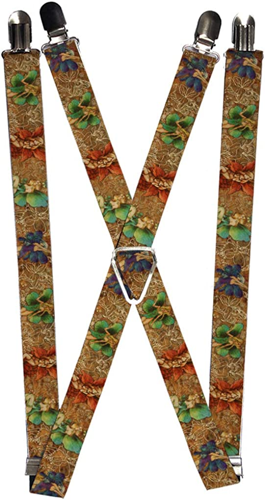 Buckle-Down Men's Suspender-Tattoo Johnny Fairies, Multicolor, One Size