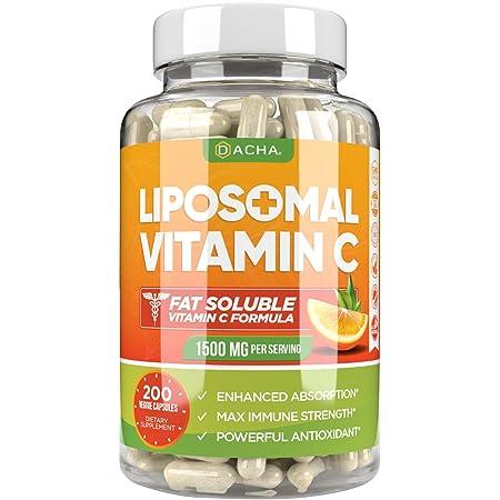 Natural Liposomal Vitamin C - Immune System & Collagen Booster, High Absorption Fat Soluble VIT C, Buffered, Anti Aging Skin Vitamins, Anti Inflammatory, Sunflower Lecithin