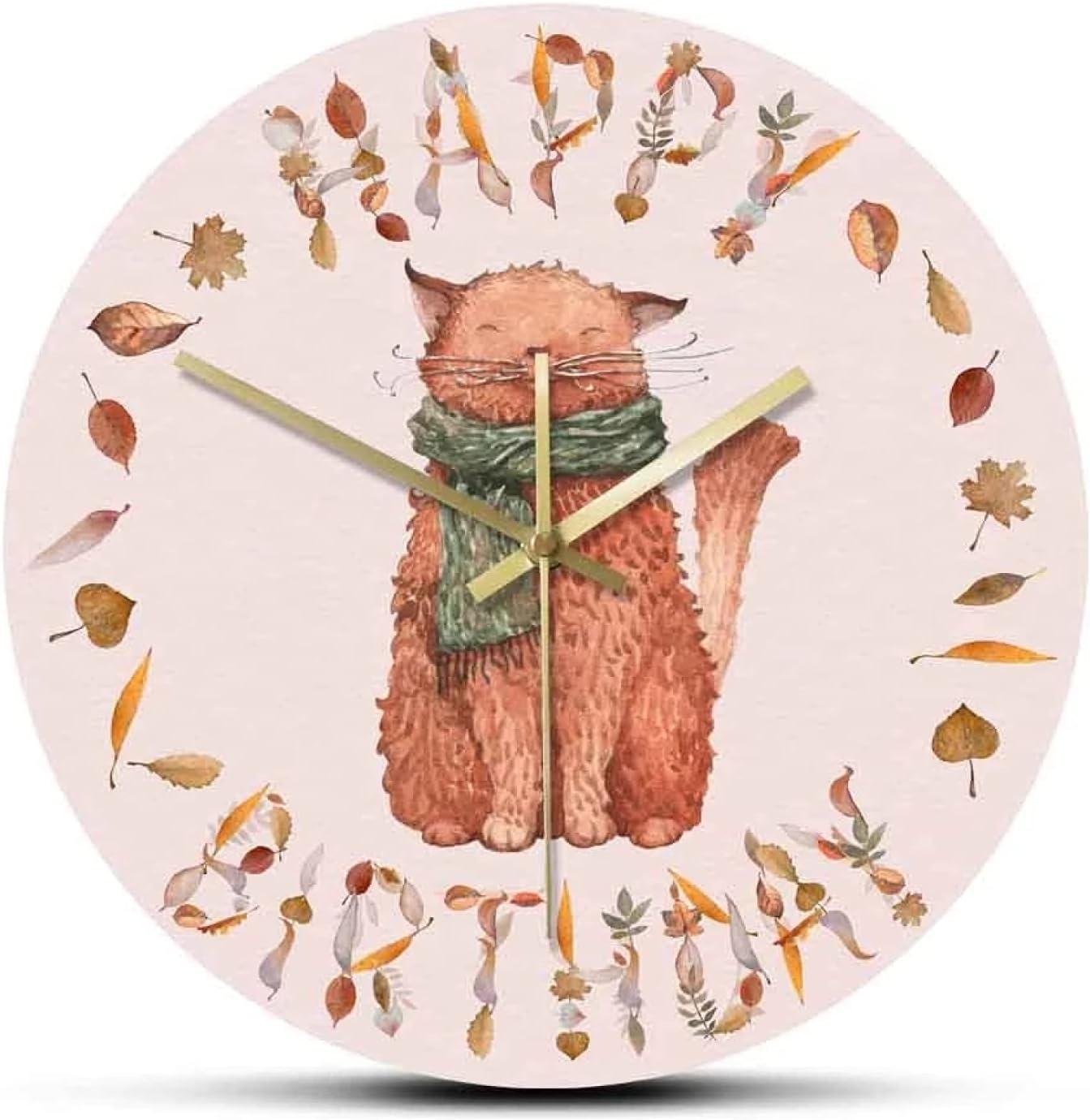 Wall Clock Happy Birthday Autumn Long Beach Mall Cat Max 83% OFF Leaves H Acrylic Large