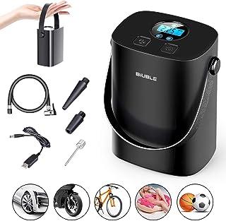 BIUBLE Akku Elektrischer Reifenpumpe Auto Luftpumpe Portable mit 2000mAh Batterie mit LCD Display für Auto, Fahrrad, Basketball, Football