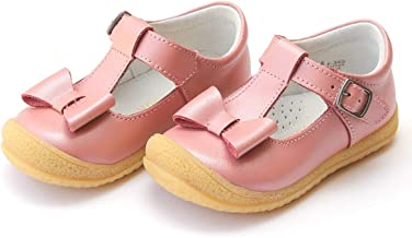 L'Amour Emma Bow Flexible T-Strap Mary Jane Velcro Buckle Rose Pink Leather Toddler Kids & Youth Girls Shoes