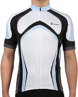 Tiekoun Men's Cycling Jerseys Tops Biking Shirts Short Sleeve Bike Clothing Full Zipper Bicycle Jacket