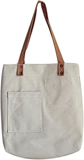 COAFIT Women Tote Bag All-Match Canvas Handbag Tote Purse (Light Grey)