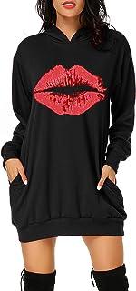 Auxo Mujer Sudadera con Capucha Talla Grande Sudadera Vestido Manga Larga Casual Flores Estampado Hoodie Jersey Larga