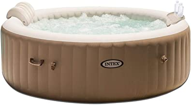 Intex PureSpa 4 Person Inflatable Bubble Jet Spa Hot Tub Set w/Tray & Headrest