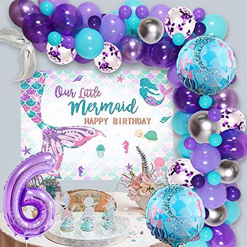 Kit de guirnalda de cola de sirena para niñas de 6º cumpleaños, color azul morado plateado con fondo de sirena, globo de aluminio número 6 para pequeñas sirenas, suministros de fiesta de 4º cumpleaños