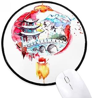 China Chinese Lantern Bridge Drawing Round Non-Slip Mousepads Black Stitched Edges Game Office Gift