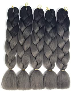 black and gray ombre braiding hair