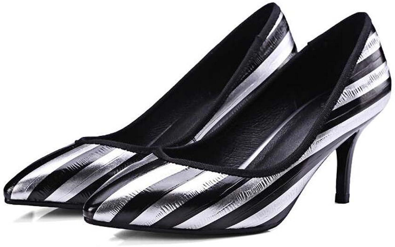 Onfly Bürodame Leder High Heels Spitze Streifen Stilett Pumpe Pumpe Pumpe OL Gericht Schuhe  3bf319