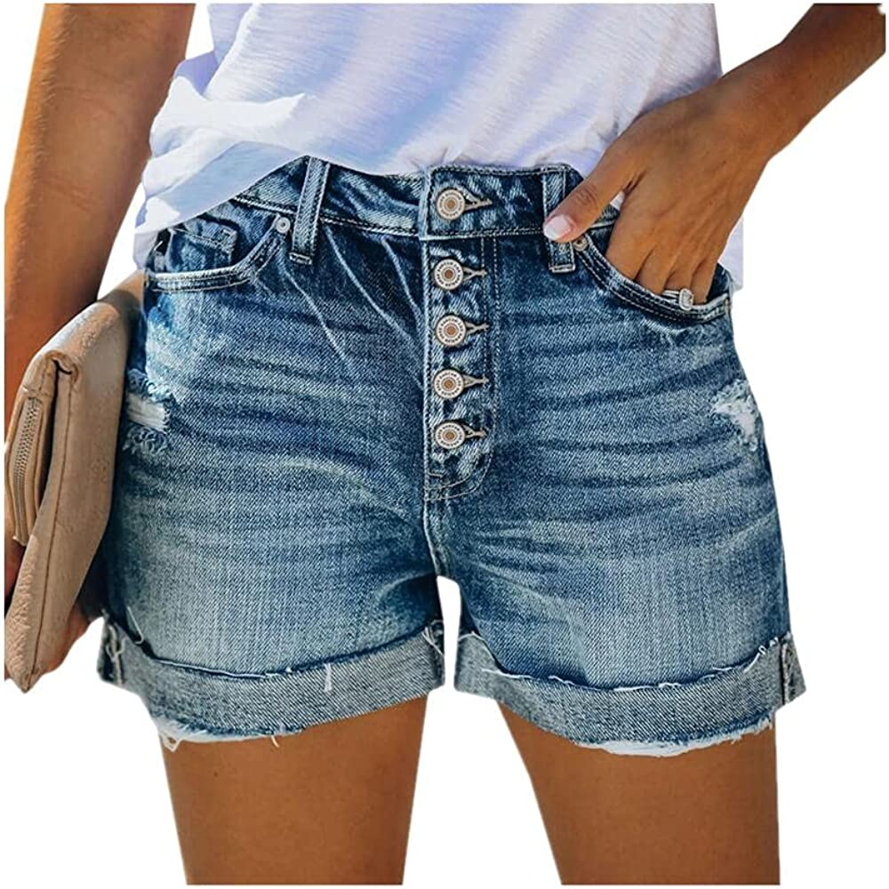 NP Women's Short Jeans Casual Summer Street Clothing Distressed Tattered Denim